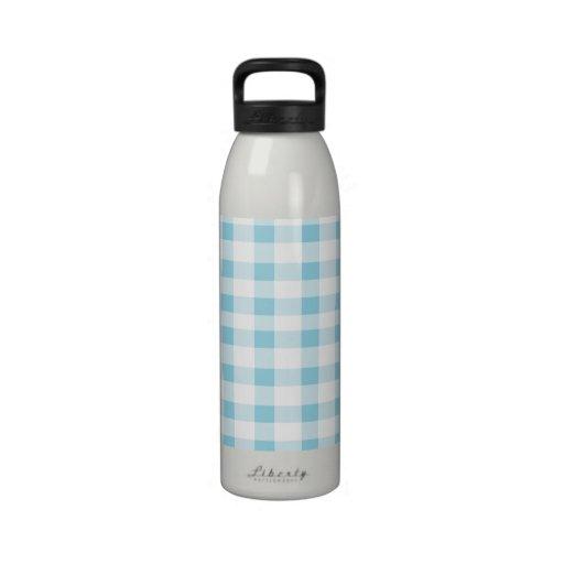 Light Blue Gingham Reusable Water Bottle