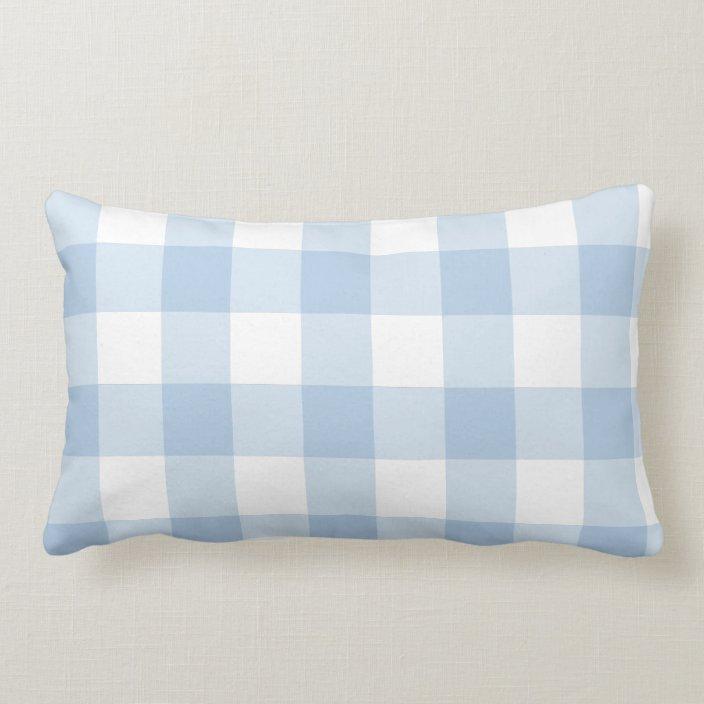 Light Blue Gingham Throw Pillow Zazzle Com