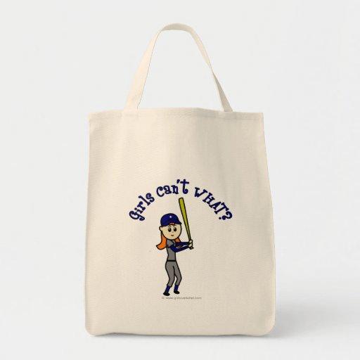 Light Blue Girls Softball Tote Bags