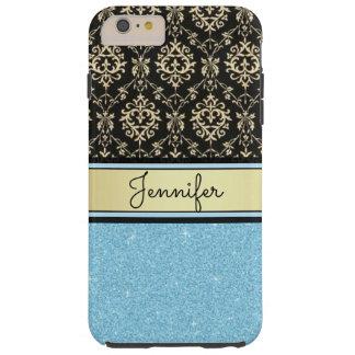Light blue Glitter, Black Gold Swirls Damask name Tough iPhone 6 Plus Case
