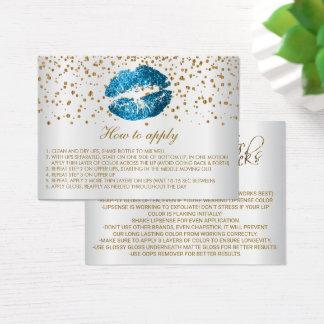 Light Blue Glitter Lips Application Instructions Business Card
