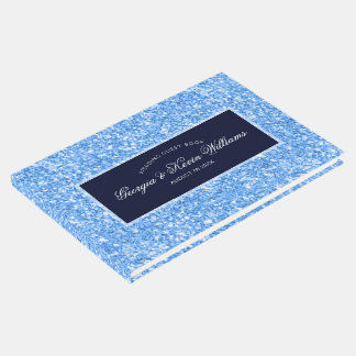 Light Blue Glitter Pattern & Dark Blue Guest Book