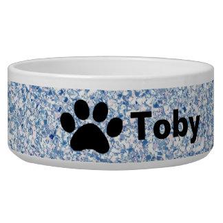 Light Blue Glitter Paw Print Personalized Dog Bowl