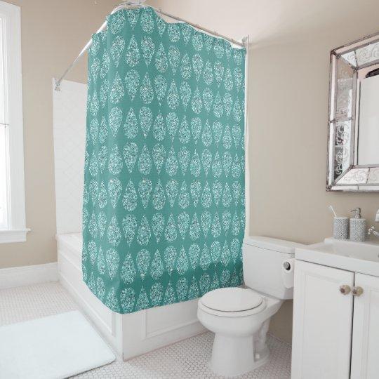 Light Blue Glitter Raindrop Shower Curtain