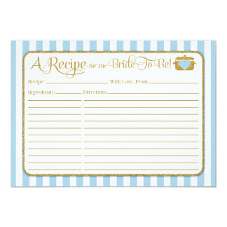 Light Blue Gold Bridal Shower Recipe Card