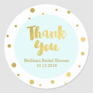 Light Blue Gold Bridal Shower Thank You Favor Tags Classic Round Sticker
