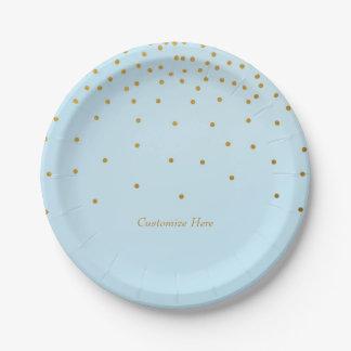 Light Blue & Gold Foil Confetti Dots Party Plates