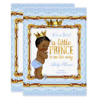Light Blue Gold White Prince Baby Shower Ethnic Card