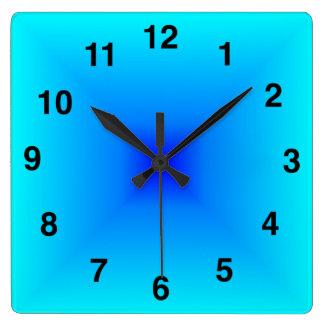 Light Blue Gradient Square Wall Clock