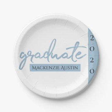 Light Blue Graduate | Cool Brush Script on White Paper Plate