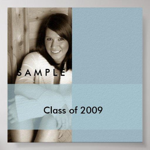 Light Blue Graduation Photo Autograph Poster