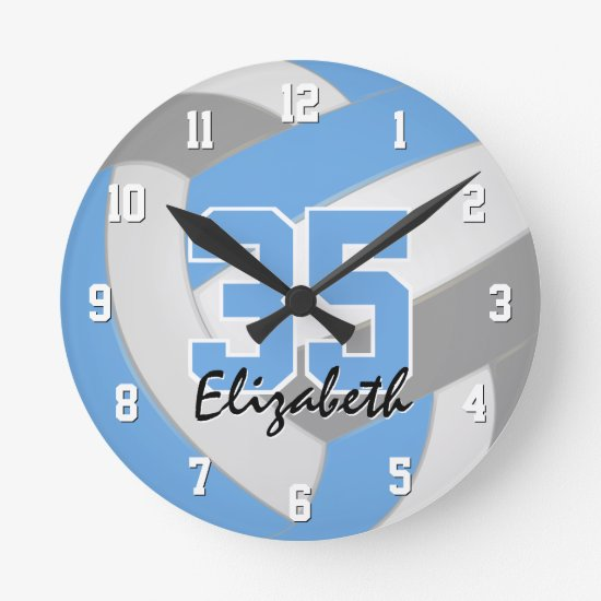 light blue gray girls personalized volleyball round clock