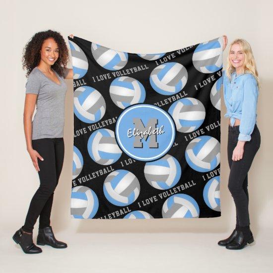 light blue gray I love volleyball text pattern Fleece Blanket