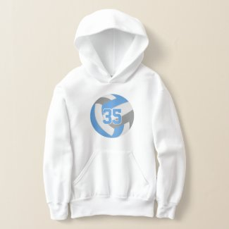 light blue gray jersey number volleyball hoodie