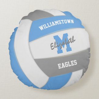 light blue gray volleyball sports room decor round pillow