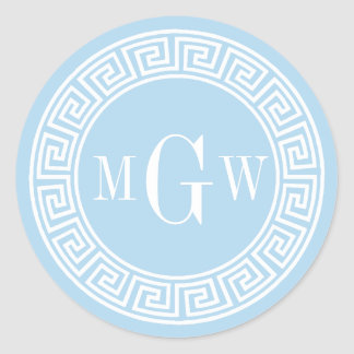 Light Blue Greek Key Monogram Envelope Seal Classic Round Sticker