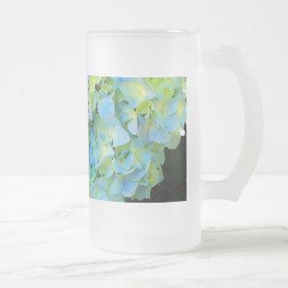 Light Blue Green Hydrangea Frosted Glass Beer Mug