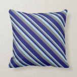 [ Thumbnail: Light Blue, Grey & Midnight Blue Colored Lines Throw Pillow ]