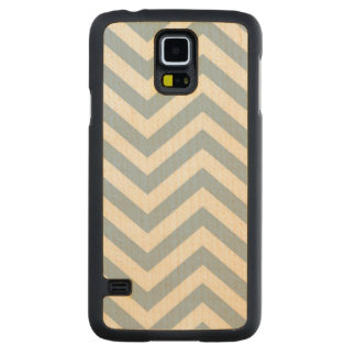 Light Blue Grunge Textured Chevron Carved Maple Galaxy S5 Case