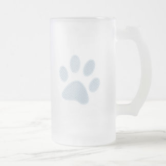 Light Blue Halftone Paw Print Frosted Glass Beer Mug