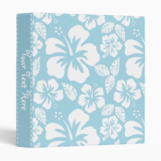 Light Blue Hawaiian Tropical Hibiscus 3 Ring Binder