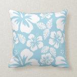 Light Blue Hawaiian Tropical Hibiscus Pillow
