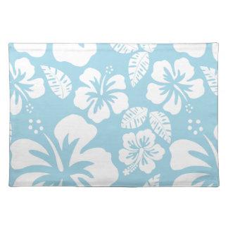 Light Blue Hawaiian Tropical Hibiscus Placemat