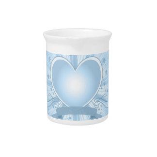 Light Blue Heart Design Pitcher