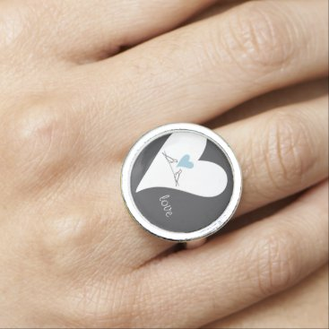 Bride Themed Light Blue Heart Rustic Wedding Love Personalized Rings