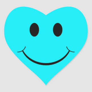 Light Blue Heart Smiley Face Stickers