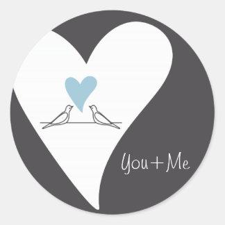 Light Blue Heart White Doves Rustic Wedding Favor Classic Round Sticker