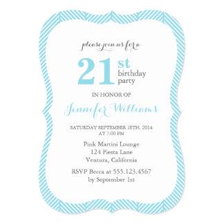 Light Blue Herringbone Pattern Birthday Party Card