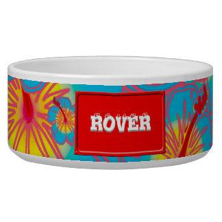 Light blue hibiscus dog bowl
