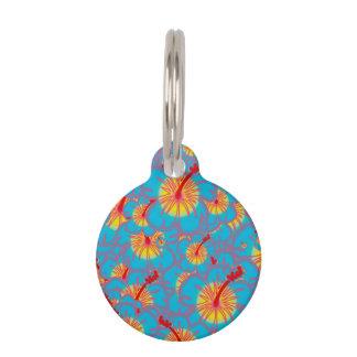 Light blue hibiscus pet tag