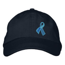 Light Blue Hope Cancer Ribbon Awareness Your Text Embroidered Baseball Cap
