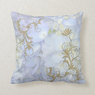Light Blue Hydrangea Decorative Throw Pillow