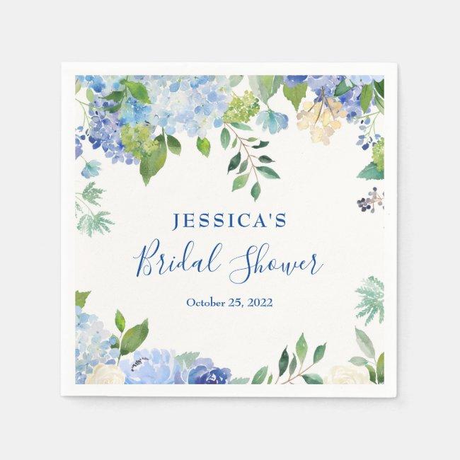 Light Blue Hydrangea Floral Bridal Shower Paper Napkins