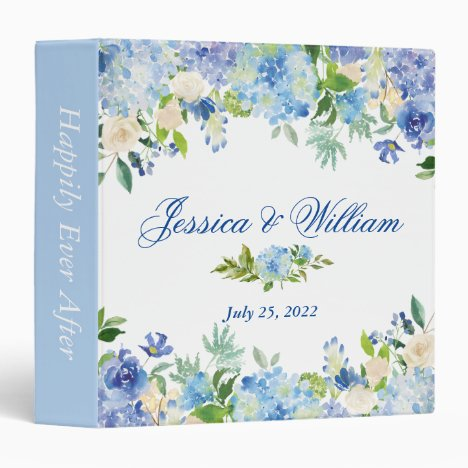 Light Blue Hydrangea Floral Custom Wedding Binder