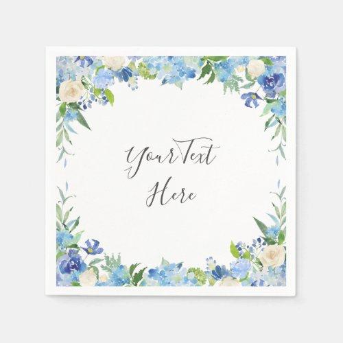 Light Blue Hydrangea Floral PARTY Paper Napkins