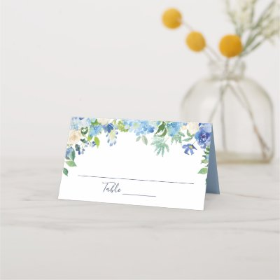 Light Blue Hydrangea  Floral Wedding Table Place Card