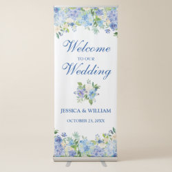 Light Blue Hydrangea Floral Wedding Welcome Retractable Banner