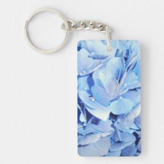 Light Blue Hydrangea Double-Sided Rectangular Acrylic Keychain