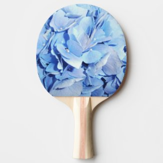Light Blue Hydrangea Ping Pong Paddle