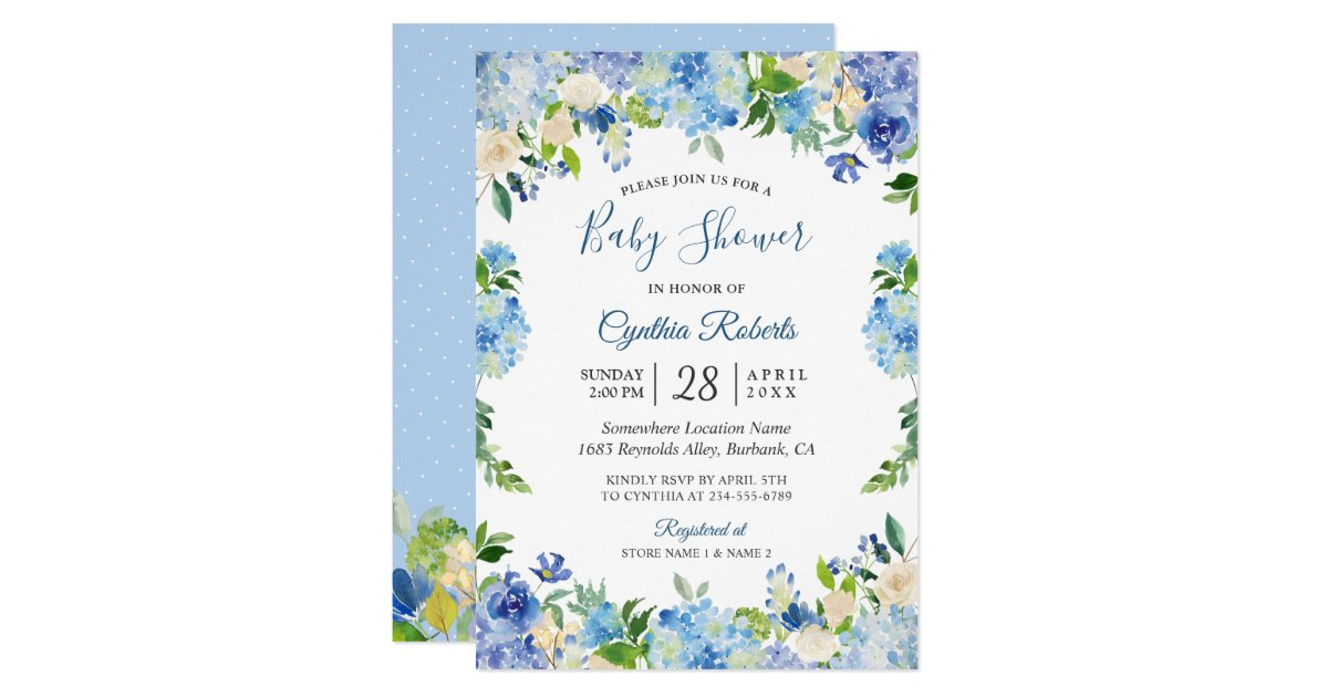 Light Blue Hydrangea Watercolor Floral Baby Shower ...