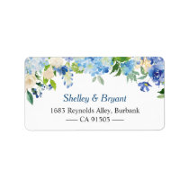 Light Blue Hydrangea Watercolor Floral Label