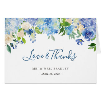 Light Blue Hydrangea Watercolor Floral Thank You Card