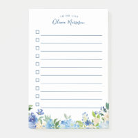 Light Blue Hydrangea Watercolor Floral To Do List Post-it Notes