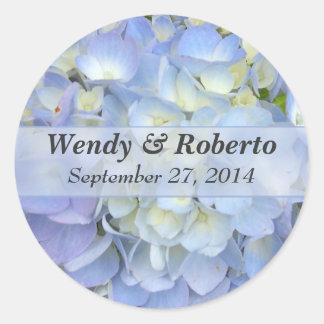 Light Blue Hydrangea Wedding Favor Labels Classic Round Sticker