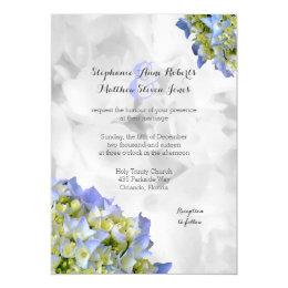Light Blue Hydrangea Wedding Traditional Wedding Card