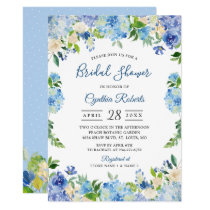 Light Blue Hydrangeas Floral Wreath Bridal Shower Card